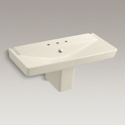 """KOHLER - KOHLER R�ve(R) 39"""" semi-pedestal bathroom sink with 8"""" widespread faucet holes - With geometric lines and a generous 39-inch width, the R�ve semi-pedestal sink makes a striking focal point for your bathroom. This deep, V-shaped basin and rectangular shroud yield a sink that is both practical and brimming with dramatic style."""