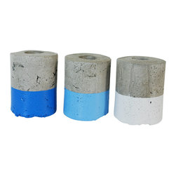 Anson Design CO - Concrete Vases- Small Set of 3 - Ombre Blue - Flower Vases - Summer Decor - This adorable trio of ombre blue vases are perfect for your indoor or outdoor floral displays! The concrete itself holds the water or you can also put a little piece of green floral foam and make a little arrangement! Each vase can hold quite a few stems depending on their size.