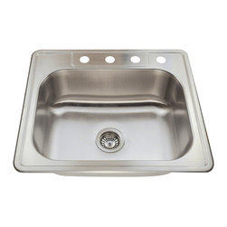 MR Direct - MR Direct T2318 Topmount Stainless Sink - Stainless Steel is the most popular choice for todays kitchens due to its clean look and durability. The beautiful brushed satin finish helps to hide small scratches that may occur over the lifetime of the sink. Most models are made of one piece construction that ensures the sturdiest kitchen sink you will find. Our sinks are made from 304 grade stainless steel that contains 18% chromium and 8-10% nickel and are guaranteed not to rust. Each sink is fully insulated and has a sound dampening pad. Our stainless steel sinks are backed by a limited lifetime warranty. Each sink comes with a cardboard cutout template and mounting hardware.