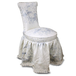 Montgomery Chair - The Montgomery is an European-inspired vanity or side chair with a pleated, lightly shirred skirt and pleated border. Available with an optional swivel base, the Montgomery size and details are completely customizable to match any aesthetic.