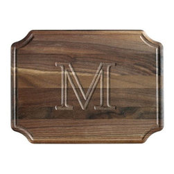 Home Decorators Collection - Chablis Cutting Board - Perfect for serving appetizers when entertaining guests or simply for a beautiful addition to your kitchen decor, this cutting board is sure to remain a favorite part of your home for years to come. For an added benefit, you can customize the look of your cutting board by choosing a single letter to be inscribed onto the surface. Order yours today and bring a personal touch to your home decor. Crafted of durable hardwood for years of lasting use. Personalize with a single capital letter. Available with intricately carved metal handles for an additional charge; see pricing above.