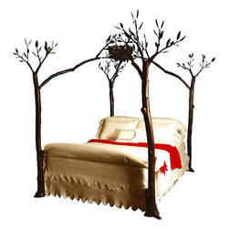 EcoFirstArt - Twig Bed with Bird Nest, Dark Wood, California King - California artist Shawn Lovell created this magnificent sculpture. Sturdy, hand-carved wood tree limbs gently arch to form a canopy with a bird's nest.