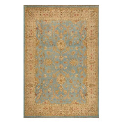 Momeni - Momeni Bergamo Bg12 Aqu Blue Rug - Derived from antique rugs found in private collections, Bergamo is an exquisite group of hand-knotted rugs. Muted colors and traditional designs blend to make this a truly unique collection. Made in China of 100% wool.