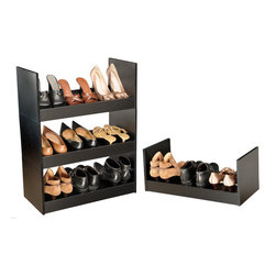 Venture Horizon - Stackable Shoe Racks - Black - An Inexpensive Alternative...Build An Entire Wall. If budget is the word but you still have a ton of shoes than our inexpensive Stackable Shoe Racks are the way to go. You can stack them as high and as wide as you want. Build an entire wall and store 100's of pairs of shoes. Not only are they a practical alternative to more elaborate and expensive shoe cabinets they are also convenient. They are portable and you can take them with you anywhere. Fits into any closet, or works as a stand alone in any room in the house. Sturdily constructed from melamine laminated particle board. Available in all white or natural oak. Measures 10in. high, 24in. wide, and 12in. deep. Easy assembly required. Made in the USA.