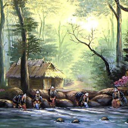Oriental-Decor - Akha Hill Tribe Oriental Painting - Thailand is home to many different people. This painting captures a group of Akha hill tribe women washing clothes at the shore of a small lake. The magnificent use of color and detail make this painting a true masterpiece. Hang this extraordinary work anywhere for added culture and beauty.
