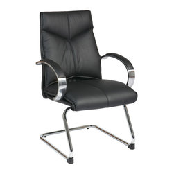 Office Star - Office Star Deluxe Mid Back Black Visitors Leather Chair With Chrome Finish Base - Deluxe Mid Back Black Visitors Leather Chair with Chrome Finish Sled Base and Padded Polished Aluminum Arms. Contour Seat and Back with Built-in Lumbar Support. Top Grain Leather. Padded Chrome Arms. Chrome Sled Base. What's included: Office Chair (1).