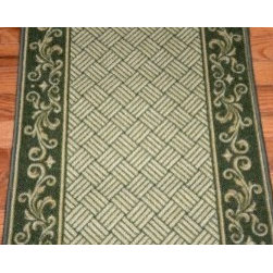 "Dean Flooring Company - Green Scroll Border Washable Non-Skid Carpet Rug Runner - Sold by the Foot - Dark Spring Green Scroll Border Washable Non-Skid Carpet Rug Runner - Purchase by the Linear Foot : This runner is sold here by the linear foot. One unit of quantity equals one foot of length on your runner. Width - Approximately 26"". These beautiful carpet runners match our Dean Flooring Company stair treads. This item will be finished (serged with color matching yarn) on all four sides regardless of the length. It is made from nylon with a washable non-skid rubber back."