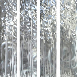 Pure Art - Forest of Illusions Hand Painted Aluminum Metal Wall Panels Set of 4 - This lavish artwork is ideally sized to make a huge visual impact above your sofa or couch! The Forest of Illusions Hand Painted Aluminum Metal Wall Panels Set of 4 features four individually handcrafted panels that have also been painted by hand and that depict a beautiful abstract forest.  Silver and gray color palette is proof positive that you don't have to have a lot of brilliant colors to create a beautiful, soothing work of art.  Hang this aluminum wall art grouping above a large piece of furniture, like your couch, bed, or buffet, to make a big visual impact and create a lovely focal point in your spaceMade with top grade aluminum material and handcrafted with the use of special colors, it is a very appealing piece that sticks out with its genuine glow. Easy to hang and clean.