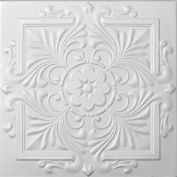R 14 Styrofoam Victorian Ceiling Tile - Faux means fake and in our case it means that our tiles look tin or metal but they in fact are not, they made out of PVC. They are only about 5 -7 Ounces in weight.  Can be glued to any stable flat surface.  Drywall, Plywood, Plaster and more.  These glue up tiles come with over lapping edging and once installed the seems are almost invisible and so they crete that seemsless look.   These tiles are used in homes, restaurants, retails spaces, movie theathers, casinos and also by professional photographers as backdrops.
