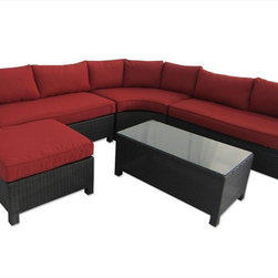 Kontiki - Kontiki Conversation Sets - Wicker Sectional Sets - [1.0 set/set] - Barcelona 5 Piece Sectional - Red -  With the Barcelona Collection, you can make the most of your garden living area by bringing the comfort of indoors to your outdoor space. With the superior fade resistance of your cushions and a great warranty on the frame, you can count on this collection for years to come.  Try this outstanding sectional collection anywhere you want to relax and entertain  With a dark wicker base that provides a contemporary look, and vibrant colors in your cushions that make a bold stylistic statement you can bring an interior design sensibility outside, in your own backyard. Installation is simple and easy: simply arrange your cushions once your set has been unpacked, then put your feet up on the cozy ottoman and enjoy your new set.  With high durability and only a minimal amount of maintenance required, you can keep your Barcelona set looking great for years to come with simple hand washing, with light detergent, on site of stains. To prolong the life of your outdoor furniture for many years, we suggest draping the sets with a tarp or cover when they're not being used.   At BuildDirect, we know that low prices and high quality are important to you  Every day at BuildDirect, we strive to achieve the best for less for our customers. With your purchase of the Barcelona Collection, you'll get the highest quality in outdoor furniture, but you won't have to break the bank. Your family deserves the best for your home improvement investment.  With our commitment to low prices, BuildDirect negotiates the best deals on the market.   Because your family deserves quality that you can afford, we make sure that our outdoor furniture partners drive down prices to meet your needs.