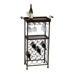 Cyan Design - Cyan Design New York Wine Stand in Mahogany and Copper - New York Wine Stand in Mahogany and Copper