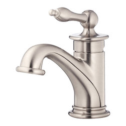 """Danze - Danze D236010BN Brushed Nickel Single Handle Faucet - Danze D236010BN Brushed Nickel Single Handle Lavatory Faucet is part of the Prince Bath collection.  D236010BN Single hole mount lav faucet has a 4 1/2"""" long and 4 1/2"""" high spout, with laminar flow.  D236010BN Includes optional deck plate for 3 hole applications, and metal touch down drain assembly.  D236010BN Single lever handle meets all requirements of ADA.  California and Vermont compliant.  WaterSense Certified."""