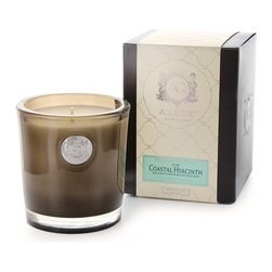 Aquiesse Coastal Hyacinth Soy Candle - This floral scented candle is a lovely combination of all things liquidly sweet. Its soy-based wax is infused with the pleasurable aromas of water hyacinth and fresh star jasmine, blooming against a background of deep green leaves with just a hint of tantalizing musk. The wet, feminine sweetness of the flowers are also enhanced by a delicate perfume of citrus, as well as friendly, stabilizing cedar to warm the purples of the jasmine.
