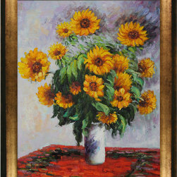 overstockArt.com - Monet - Sunflowers - Hand painted oil reproduction of a famous Monet painting, Sunflowers. also known as Tournesols . The original masterpiece was created in 1881. Today it has been carefully recreated detail-by-detail, color-by-color to near perfection. Why settle for a print when you can add sophistication to your rooms with a beautiful fine gallery reproduction oil painting? While Monet successfully captured life's reality in many of his works, his aim was to analyze the ever-changing nature of color and light. Known as the classic Impressionist, Monet cannot help but inspire deep admiration for his talent in those who view his work. This work of art has the same emotions and beauty as the original. Why not grace your home with this reproduced masterpiece? It is sure to bring many admirers!