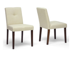 Baxton Studio - Baxton Studio Glen Cream Woven Fabric Chair Set of 2 - It is easy to find a place to relax and dine in both comfort and style when these padded dining chairs are a part of your dining space.  The entire seating area, both on the front and back, is lightly padded and upholstered in a universally-complemented neutral cream woven fabric.  The legs are wooden with a medium-stained walnut veneer finish.