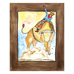 Oh How Cute Kids by Serena Bowman - Hanging On, Ready To Hang Canvas Kid's Wall Decor, 16 X 20 - This is classic theme of Ridin' and ropin' cowboys kicking up clouds of dust  - can go with any little guy's decor! I love this picture - a little more rowdy than my normal fare!