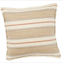 """Conrad Stripe Pillow Cover, 20"""" sq., Neutral - Pure linen/cotton provides a soft background for the alternating crisp and soft-focus stripes on our Conrad pillow cover. 20"""" square Made of a linen/cotton blend. Yarn dyed for vibrant, lasting color. Reverses to self. Zipper closure. Insert sold separately; down blend or synthetic. Machine wash. Imported. Internet only."""
