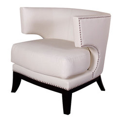 Armen Living - Eclipse Club Chair, Cr�me Vinyl with Nailhead Accents - Dynamic design gives this cream vinyl covered club chair a real retro look, with accenting nailheads, for that contemporary room setting.