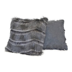 Sherry Kline - Sherry Kline 20-inch Siberian Stripe Grey Faux Fur Decorative Pillows (Set of 2) - These two square faux-fur pillows from Sherry Kline are the perfect accessory to decorate a couch or bed with a touch of exotic flair. The reversible design provides a new look with a simple flip,and the 100 percent material adds a touch of comfort.