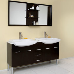 """Vetta Espresso Modern Double Sink Bathroom Vanity With Mirror - The Vetta is a great double sink vanity with an espresso finish on solid oak wood that fits every desire.  Clean lines and slim details create a sleek modern urban creation that calmly brings a bathroom together.  Details such as chrome hardware and a white ceramic basin complete a streamlined look that brings a touch of class to any decor.  This vanity features soft closing hinges on side doors, self closing top quality mechanism on the pull-out shelves.  Many faucet styles to choose from.  Optional side cabinets are available.Dimensions of Vanity:  59.75""""W x 19""""D x 32.25""""H. Dimensions of Mirror:  59.75""""W x 25.5""""H x 5.25""""D. Materials:  Solid Oak Wood, Ceramic Sinks with Overflow, Marble Countertop. Soft Closing Drawers and Doors. Single Hole Faucet Mounts (Faucets Shown In Picture May No Longer Be Available So Please Check Compatible Faucet List). P-traps, Faucets, Pop-Up Drains and Installation Hardware Included"""