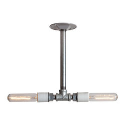 Industrial Light Electric - Industrial Lighting - Drop Pendant Pipe Light - Double Bare Bulb Lamp, 24in Pipe - This Custom Made to Order Double Drop Pendant Pipe Light comes is made to order with your choice of pipe length. This Industrial Modern Drop Pendant Lamp will look great in any room.