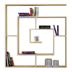 Decortie - LABIRENT BOOKCASE, Oak - Simple and stylish, the Decortie Labirent Book Shelf would look stunning in a contemporary home. Angular in design, this maze like piece is the perfect way to display your books, art and object. Featuring numerous sections it is both sophisticated and practical.