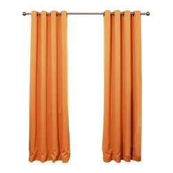 "Best Home Fashion - Solid Grommet Top Thermal Insulated Blackout Curtains - 1 Pair, Orange, 84"" - Bring warmth and style to your home with high-quality insulated Blackout window curtain pair. The grommet top adds a modern touch and provides energy efficient comfort. It features innovative fabric construction. Compared to other curtains, our product is extremely SOFT and DRAPERY. The sophisticated designs allow you to decorate your windows with great style. NEVER compare our Blackout Curtains with those cheap ones that are stiff and looks like a shower curtain. Blackout is perfect for : Late sleepers Shift workers Seniors Infants & parents Students Computer operators Care instruction : -Machine wash warm with like colors. -Use only non-chlorine bleach when needed. -Tumble dry low. -Warm iron as needed"