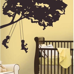 Roommates Decor - Kids on Swing Giant Peel & Stick Wall Decals - Celebrate the simple joys of childhood with this silhouette of children on tree swings. This design is a wonderful pick for nurseries, and will look right at home by a crib or bed. Application is a breeze: simply peel each pre-cut piece from the liner and apply it to the wall. Repeat until each piece has been applied. If you need to adjust the design, there are no problems: you can remove each element and re-apply it over and over again until you have the perfect tree on your wall. There's no easier way to add art to your walls than wall decals!