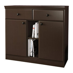 South Shore - South Shore Morgan Storage Console in Chocolate - South Shore - Console Tables - 7259770 - The handy configuration of this storage console from the Morgan collection gives you a number of versatile spaces for putting things away and lots of functionality. The metal knobs mouldings and nicely worked edges make this a Transitional-style piece