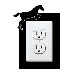 StickONmania - Outlet Jumping Horse Sticker - a vinyl decal sticker to decorate a wall outlet.  Decorate your home with original vinyl decals made to order in our shop located in the USA. We only use the best equipment and materials to guarantee the everlasting quality of each vinyl sticker. Our original wall art design stickers are easy to apply on most flat surfaces, including slightly textured walls, windows, mirrors, or any smooth surface. Some wall decals may come in multiple pieces due to the size of the design, different sizes of most of our vinyl stickers are available, please message us for a quote. Interior wall decor stickers come with a MATTE finish that is easier to remove from painted surfaces but Exterior stickers for cars,  bathrooms and refrigerators come with a stickier GLOSSY finish that can also be used for exterior purposes. We DO NOT recommend using glossy finish stickers on walls. All of our Vinyl wall decals are removable but not re-positionable, simply peel and stick, no glue or chemicals needed. Our decals always come with instructions and if you order from Houzz we will always add a small thank you gift.