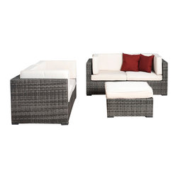 International Home Miami - Atlantic Nice 5-Piece Grey Wicker Seating Set with White Cushions - Great quality, stylish design patio sets, made of aluminum and synthetic wicker. Polyester cushion with water repellant treatment. Enjoy your patio with elegance all year round with the wonderful Atlantic outdoor collection.