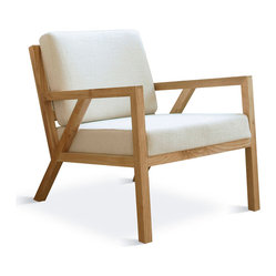 "Gus Modern - Gus Modern Truss Chair, Cabana Husk - If ever a chair could soothe your mind as it comforts your body, it's this one. Its sleek lines in solid natural oak and so-supportive cushions give you that ""ahhh!"" feeling every time you take a seat."