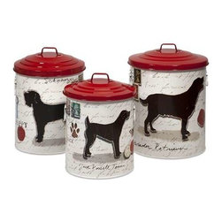 Dog Food Storage Canisters with Dog Images and Red Lids - Set of 3 - Keep your dog treats fresh with these trendy dog food storage containers.