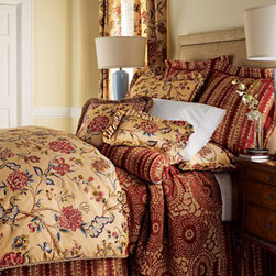 """Jane Wilner Designs-""""Olivia"""" Bed Linens - Exotic and rich in color, Olivia bed linens are designed with parrot tulips, peony blossoms, leaves, stripes and cheetah spots.   These linens would work in any decor, especially with warm rich woods or a neutral uphostered headboard."""