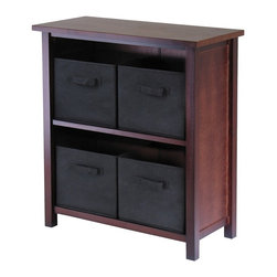 Deluxe Comfort - Verona 2-Section M Storage Shelf - 94271, Antique Walnut/Black - Winsomes Verona open storage cabinet comes with 4 foldable black fabric baskets. Finished in a warm walnut stain, this 2 sectioned shelf is 30H x 28W. The baskets at 11x10 fit neatly on the shelves