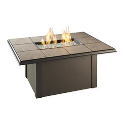 "The Outdoor Greatroom - Napa Valley Rectangular Fire Pit Table With Black Wicker Side Panels, Brown - The Napa Valley fire pit table features a classic design and is easily customizable. Choose from a brown metal base with either brown metal side panels or brown wicker side panels, and a gorgeous slate-like porcelain tile top with beautiful swirls of browns, tans and greys; Or from a black metal base with either black metal side panels or black wicker side panels, and an elegant black granite tile top. Either tile top easily comes out in order for you to add your own personal ""tile-touch"" or color. This fire pit able comes with a rectangular 24x12 inch stainless steel Crystal Fire Burner that will truly light up the night and add warmth to your outdoor space. These burners are made from high quality stainless steel and include tempered, tumbled glass, an LP hose and regulator, a metal flex hose, a gas valve, and a push button sparker. With just a push of a button, a beautiful clean-burning fire appears atop a bed of highly reflective Diamond glass fire gems. All burners are shipped with orifices for LP or NG fuels and are UL approved for safety and quality. Adjust the flame height to your desired setting and enjoy the magic and ambience of a warm glowing fire."