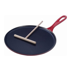"""Le Creuset - Le Creuset 10 3/4"""" Crepe Pan  - Cherry - With its flat, low-edged design and satin black-enameled cooking surface, this authentic French-inspired pan produces light, thin and perfectly browned cr�pes and pancakes in just minutes."""