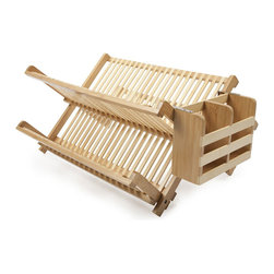 Rustic Bamboo Dish Rack - The Dry & Hide Bamboo Dish Rack is made from 100% organically grown bamboo that adds beautiful durability to any kind of kitchen. Don't have counter space to spare? No problem! This piece folds down for clean and easy storage. Whether you use it for storing dishes or for air drying, this piece adds stylish functionality to any kitchen decor.