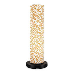 """PLC - PatioGlo LED Floor Lamp with Orange Swirl Fabric Cover - Award Winning Design! 6 super bright white LEDs provide equivalent light output of a 70 watt incandescent bulb while only using 6 watts. Body of the PatioGlo lamp is molded of special UV protected high density frost polyethylene mounted to a weighted resin base. The base includes an energy saving low voltage LED light source designed to provide years of carefree illumination. Accented with colorful outdoor fabric cover. Completely weatherproof with nothing to rust or corrode. Great for seaside environments. Includes remote control with on/off and dimming functions. Dimensions: 41"""" tall x 9.5"""" body diameter."""