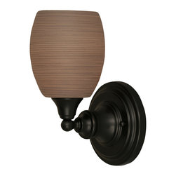 """Toltec - Toltec 40-MB-605 Wall Sconce Shown in Matte Black Finish - Toltec 40-MB-605 Wall Sconce Shown in Matte Black Finish with 5"""" Gray Linen Glass"""