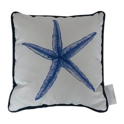 Handcrafted Nautical Decor - Blue and White Starfish Decorative Throw Pillow 10'' - This charming Blue and White Starfish Decorative Throw Pillow 10'' combines the  atmosphere of  the sea and represents sealife with a starfish placed prominently in the center of our pillow. This pillow will evoke memories of the waves washing up to the shore. Place this  pillow in   your home to show guests your affinity for sealife and beach  decor.----    Handcrafted by our master artisans--    Beautiful starfish design--         --    Blue and white nautical colors --    --