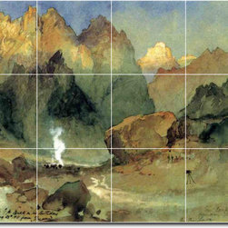 Picture-Tiles, LLC - In The Lava Beds Tile Mural By Thomas Moran - * MURAL SIZE: 36x48 inch tile mural using (12) 12x12 ceramic tiles-satin finish.