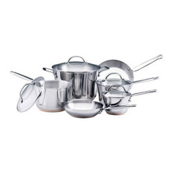 "KitchenAid - Gourmet Stainless Steel 10-Piece Cookware Set - The KitchenAid 10 Piece Cookware Set is the best way to invest in pans. This set is made for cooks who appreciate beauty and performance. With big pans like an 8 quart stockpot you''ll be ready to entertain. Made of stainless steel and an aluminum/copper core it heats evenly. Includes: -1.25 Quart Covered Saucepan. -2.5 Quart Covered Saucepan. -3.5 Quart Covered Saucepan. -8 Quart Covered Stockpot. -8"" Open skillet. -10"" Open skillet. Features: -Double full cap base of aluminum, copper and stainless steel for exceptional cooking performance with reduced hot spots. -Unique tapered shape makes stirring and whisking easy, while the larger space at the top speeds reduction for rich, flavorful sauces. -Polished stainless steel riveted handle provides a confident grip. -Tempered glass lid for monitoring foods while locking in flavors and nutrients. -Suitable for induction stoves. Specifications: -Material: Stainless steel. -Cleaning and Care: Dishwasher safe. -Oven safe to 500F. -1 year hassle-free replacement warranty, plus lifetime limited warranty."
