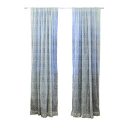 "Ichcha - Toile d'Indigo Window Curtain, 108"" - The Panels are hand block printed and colored with natural dyes! The Toiles are a nostalgic reminder of our history and our craft past. They can also be paired with our block printed stripes to create a unique setting in your home."