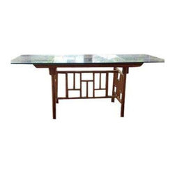 """Used Rattan Fretwork Dining Table with Glass Table Top - Vintage Rattan base with large glass table top. Perfect for any dining room to add some Chinoiserie into your life, or admire this piece out on the patio.    Base Dimensions: 27""""D x 52""""L"""