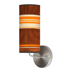 jefdesigns - Horizontal Stripey 2 Wall Sconce - For a design aesthetic that's cool as a cucumber, look no further than this unfussy lamp for your decor. The stripes are bright and fun, and the wood-grain backdrop they sit upon is grounded and intriguing. This light will look whimsical and interesting on your wall.