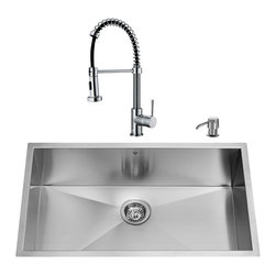 """VIGO Industries - VIGO All in One 32-inch Undermount Stainless Steel Kitchen Sink and Chrome Fauce - Give your kitchen a complete makeover with a VIGO All in One Kitchen Set featuring a 32"""" Undermount kitchen sink, faucet, soap dispenser, matching bottom grid and sink strainer."""
