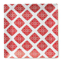 Q Squared NYC - Diamond Red Large Serving Platter, Square - Diamond Red dazzles with its rich color and classic design.