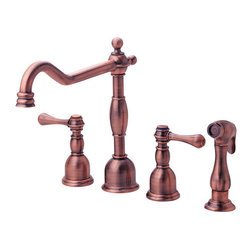 "Danze - Danze D422057AC Antique Copper Opulence Kitchen Faucet - Includes Side - Product Features:Faucet body and handles feature all-brass constructionFully covered under Danze's limited lifetime faucet warrantyHigh-quality finishing process – finish covered under lifetime warrantyKitchen faucets from Danze are designed to not only function flawlessly, but nourish the eyeDouble handle operation – handles rest on 1/4 turn valve seatsSide spray coupled with a quiet-function hose helps with a variety of kitchen tasksADA compliant handleLow lead compliant – meeting federal and state guidelines for lead contentAll hardware required for faucet installation is includedProduct Technologies and Benefits:Drip-Free Ceramic Disc Valves: By making these components standard across all of their kitchen faucets, Danze has made leaking and rough operating faucets a thing of the past. These valves provide a lifetime of smooth handle control, andProduct Specifications:Overall Height: 9-5/8"" (measured from mounting deck to highest point on faucet)Spout Height: 7-7/16"" (measured from mounting deck to spout outlet)Spout Reach: 8-5/8"" (measured from center of faucet body to center of spout outlet)Faucet Holes: 4 (number of holes required for faucet installation)Faucet Centers: 8"" (center-to-center distance between handle installation holes)Flow Rate: 2.5 gallons-per-minute2 handles included with faucetMaximum Deck Thickness: 2"" (cannot mount on decks thicker without extension kit)Designed for use with standard U.S. plumbing supply bibs"