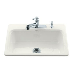 KOHLER - KOHLER K-5832-4-96 Bakersfield Self-Rimming Kitchen Sink - KOHLER K-5832-4-96 Bakersfield Self-Rimming Kitchen Sink with Four-Hole Faucet Drilling in Biscuit